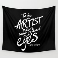 akira Wall Tapestries featuring To be an artist... Akira Kurosawa  by Dubai Doodles