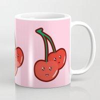 kawaii Mugs featuring Kawaii Cherry by Nir P