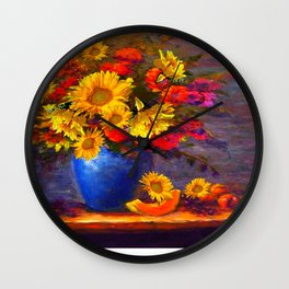 Awesome Blue Vase Fruit & Sunflowers Still Life Wall Clock