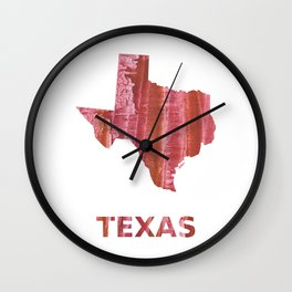 Texas map outline Indian red stained wash drawing Wall Clock