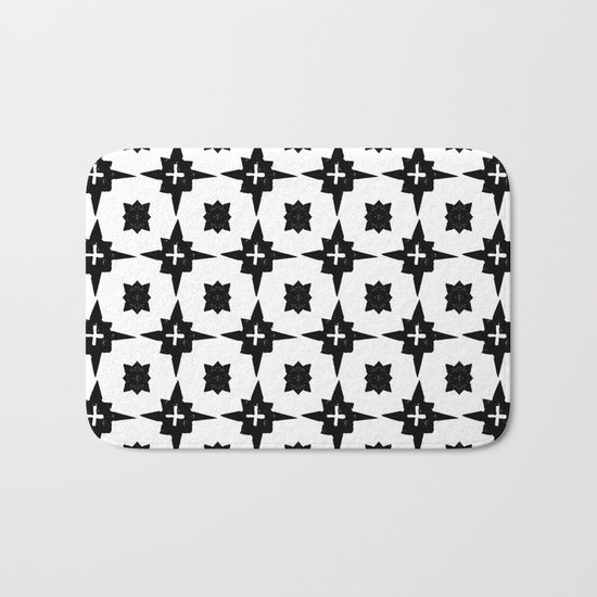 Linocut scandinavian minimal printmaking pattern blockprint black and white Bath Mat