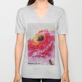 Big Pink Rose Blossom watercolor by CheyAnne Sexton Unisex V-Neck
