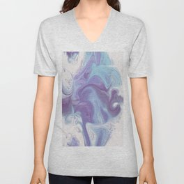 Purple, Blue, and White Abstract Unisex V-Neck