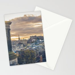 Edinburgh city and castle from Calton hill and Stewart monument Stationery Cards