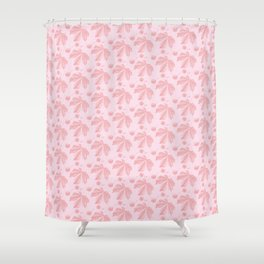 Horse Chestnut leaf and conker pale pink pattern Shower Curtain