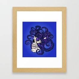 Purple Octopus in Skull Framed Art Print