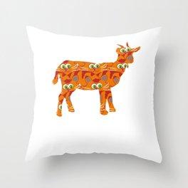 Tabby cat goat Throw Pillow