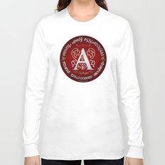 Joshua 24:15 - (Silver on Red) Monogram A Long Sleeve T-shirt