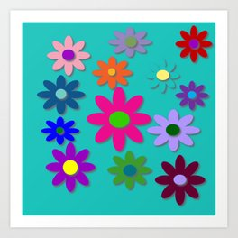 Flower Power - Teal Background - Fun Flowers - 60's Style - Hippie Syle Art Print