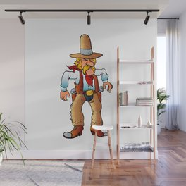 cowboy in duel cartoon Wall Mural