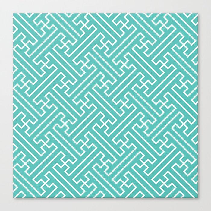 Lattice - Turquoise Canvas Print