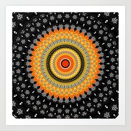 Black White Orange Mandala Art Print