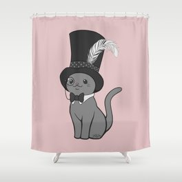 Grey Cat Wears Plumed Top Hat Shower Curtain