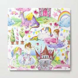 Princess with Unicorns and Dragons Metal Print