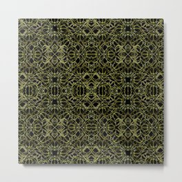 Golden Geo Tribal Pattern Metal Print