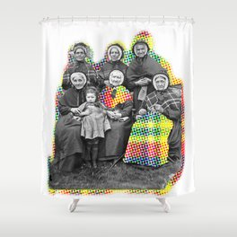 THE SIX GRANDMOTHERS IN PIXELATED PLAID Shower Curtain