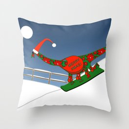 Christmas Dinosaur Snowboarding in a Santa Hat Throw Pillow