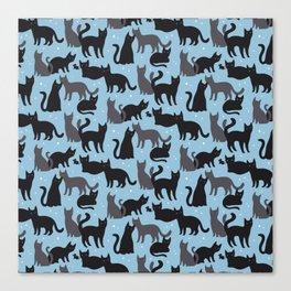 Black Cats Pattern Canvas Print