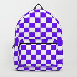 White and Indigo Violet Checkerboard Backpack