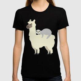 Cute & Funny Sloth Sleeping On Llama Friend T-shirt