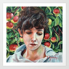 Discretion, oil painting portrait of Eve in Garden of Eden with Apples Art Print