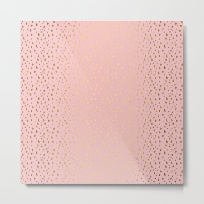 Gold and pink sparkling and shiny Stars pattern on #Society6 Metal Print