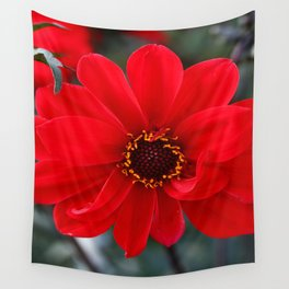 Red Red Dahlia Wall Tapestry