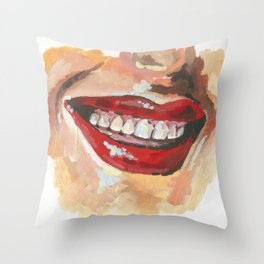 Red Lips Smiling Throw Pillow