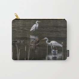 Three Great Egrets Among the Ducks, No. 2 Carry-All Pouch