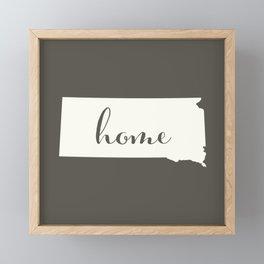 South Dakota is Home - White on Charcoal Framed Mini Art Print