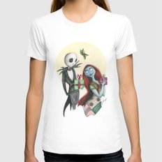 Jack and Sally Merry Christmas MEDIUM White Womens Fitted Tee