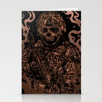 military Stationery Cards featuring Military skull by barmalisiRTB