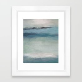 Abstract Painting, Light Blue, Teal, Sage Green Prints Modern Wall Art, Affordable Stylish Framed Art Print