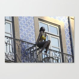 Mannequin sunbathing at the balcony Canvas Print