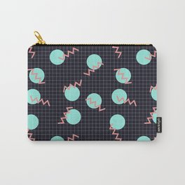 Cyan Circles and Pink Sharp Angled Lines on Dark Grid Pattern Carry-All Pouch