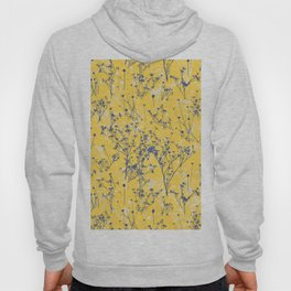 Elegant Blue Wildflowers on Mustard Yellow Pattern Hoody