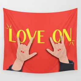 Love On Sign (I Love You) Language Hands - Red and Yellow Colorway Wall Tapestry