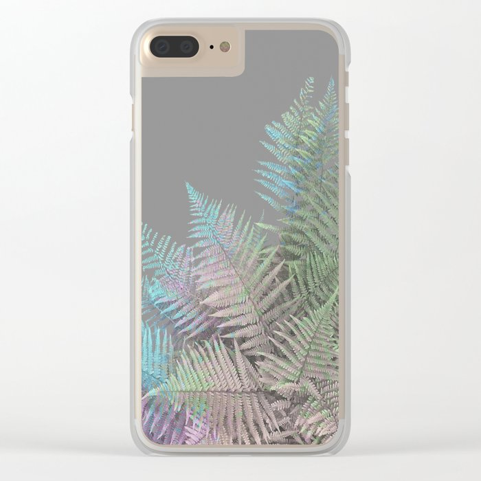 Rainbow Fern on Grey #decor #buyart #foliage Clear iPhone Case