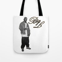 2pac Tote Bags featuring Big L //Black&White by Gold Blood