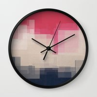 city Wall Clocks featuring city by spinL