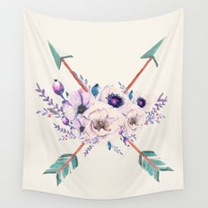 Floral Arrows Wall Tapestry