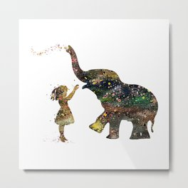Girl And Elephant Colorful Watercolor Art Kids Gift Animals Lover Art Metal Print