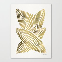 Tropical Banana Leaves – Gold Palette Canvas Print