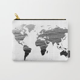 World Map - Ocean Texture - Black and White Carry-All Pouch