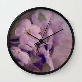 Purple Painted Blossoms Wall Clock