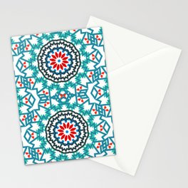 Tribal colorful bohemian pattern with abstract flowers Stationery Cards