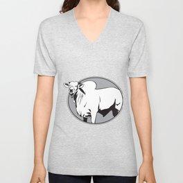 Bull zebu vintage logo Unisex V-Neck