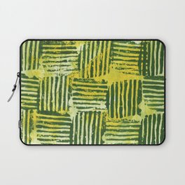 Yellow green striped squares Laptop Sleeve