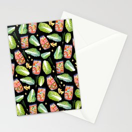 Kimchi Ingredients Fun Spicy Watercolor Black Stationery Cards