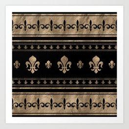 Fleur-de-lis Luxury ornament - black and gold Art Print